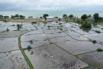 BANTEN, Dec. 24, 2018 A farmland is damaged by tsunami in Banten Province, in Indonesia, Dec. 24, 20