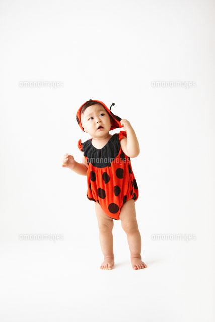 てんとう虫の服を着た赤ちゃん10132105070の写真素材イラスト素材