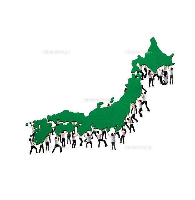 沢山の人が支える日本列島10132106119の写真素材イラスト素材