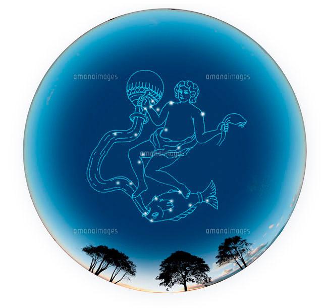 夕景の球体にみずがめ座12星座10141000268の写真素材イラスト