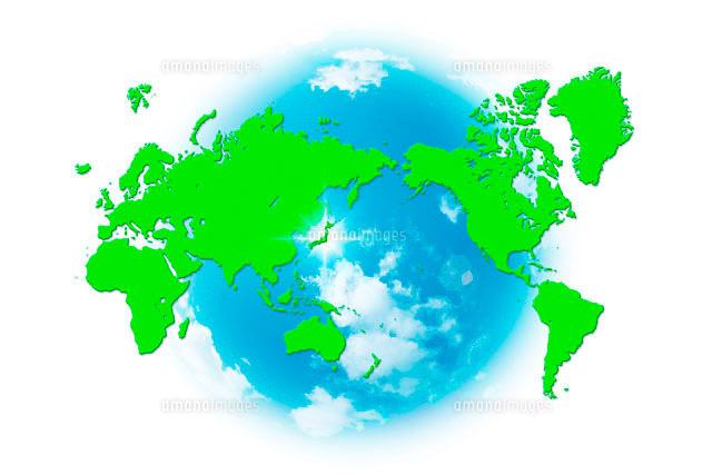世界地図と青空10141000307の写真素材イラスト素材アマナイメージズ