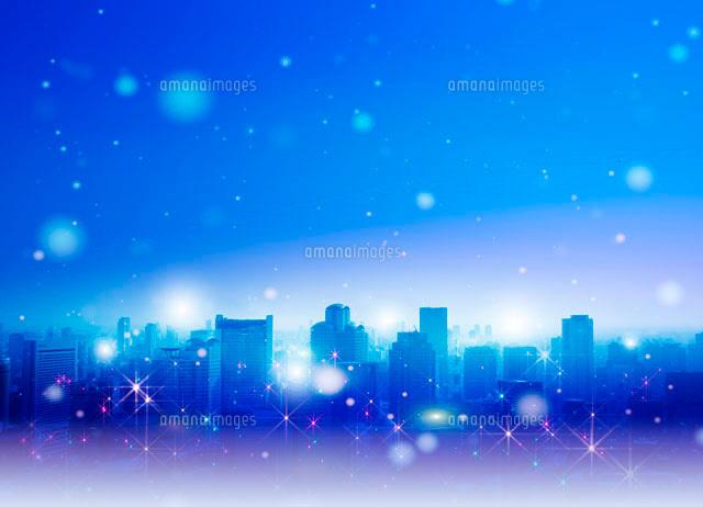 都会の街並とクリスマスイメージ10144000352の写真素材イラスト素材