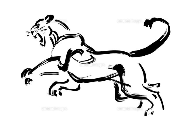 飛びかかる黒のライオン 筆のイラスト10155000172の写真素材イラスト