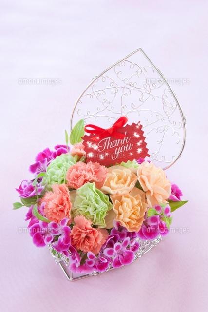 カーネーションの花かごとメッセージカード10158003430の写真素材