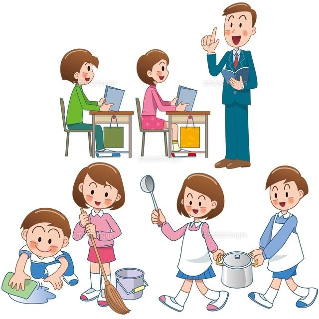 小学校の授業と掃除と給食当番10173003044の写真素材イラスト素材