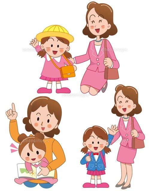 女の子の誕生と幼稚園入園と小学校入学 の写真素材 イラスト素材 アマナイメージズ