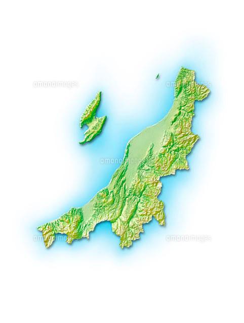 新潟県の地図等高線色分け市町村区分けのイラスト素材