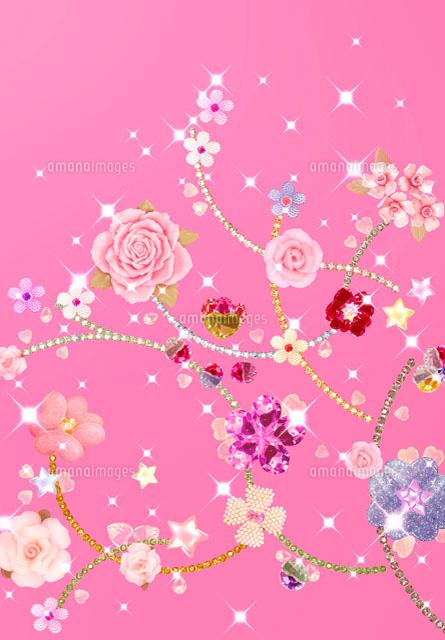 宝石と花のコラージュ10285000057の写真素材イラスト素材アマナ
