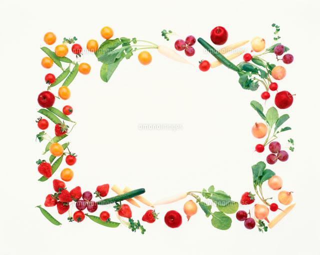 野菜と果物で作ったフレーム10285000432の写真素材イラスト素材