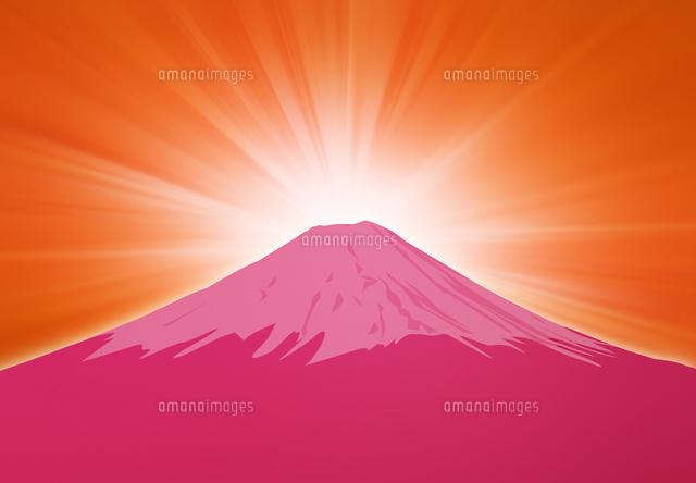 日の出と赤い富士山のイラスト 10319000109 の写真素材 イラスト素材