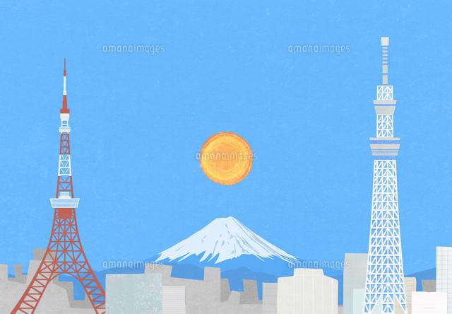 東京の町と富士山のイラスト10319000113の写真素材イラスト素材