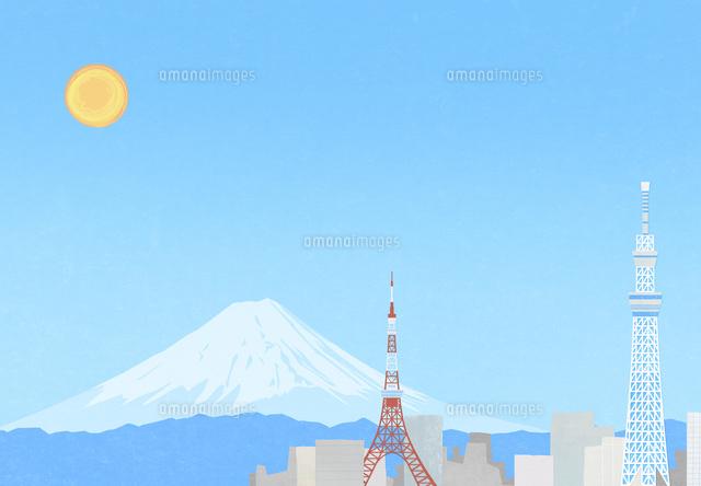 東京の町と富士山のイラスト10319000114の写真素材イラスト素材