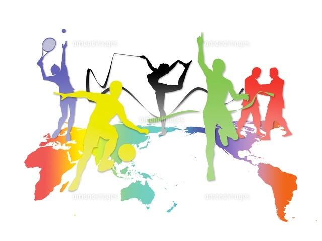 世界地図とカラフルなオリンピック競技のシルエット10327000332の写真
