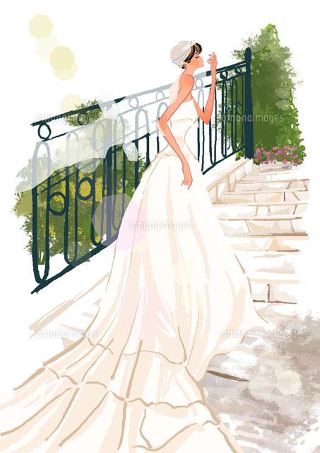ウエディングドレスを着た女の子10402000020の写真素材イラスト素材