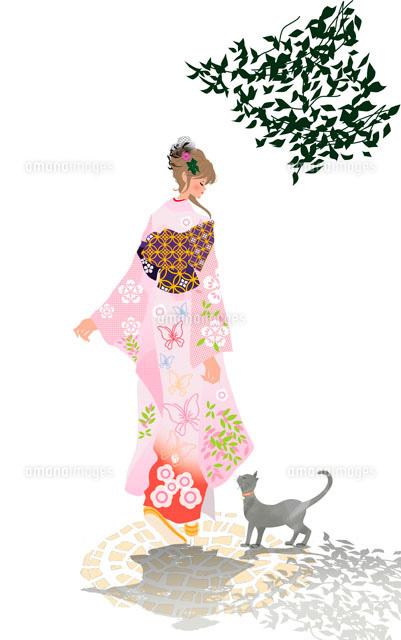 着物の女性と猫10402000032の写真素材イラスト素材アマナイメージズ
