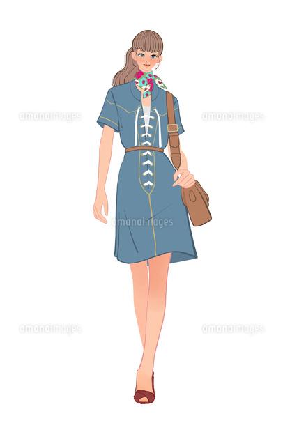70年代ファッションの女の子10402000299の写真素材イラスト素材