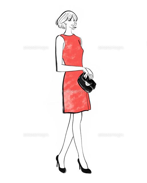 ワンピースのドレスを着て立つ女性10402000484の写真素材イラスト