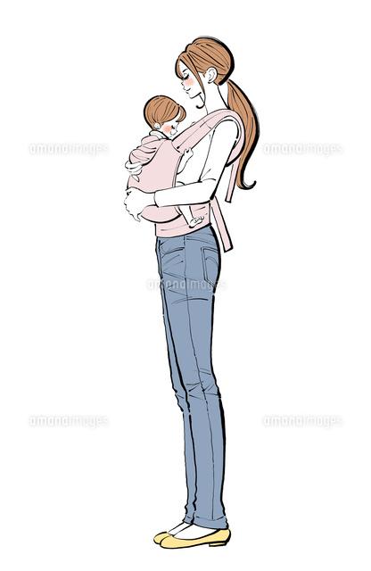 抱っこ紐で赤ちゃんを抱くママ10402000532の写真素材イラスト素材
