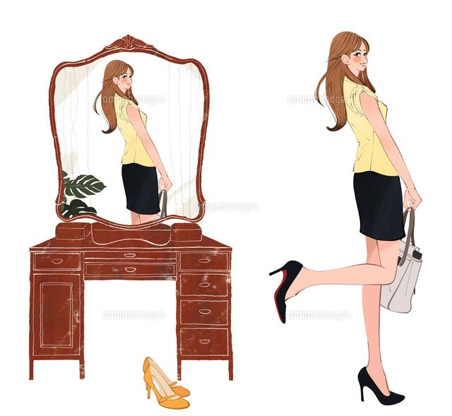 おしゃれして鏡を見る女の子10402000603の写真素材イラスト