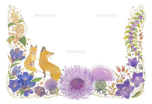 10月をイメージした花とキツネの飾り