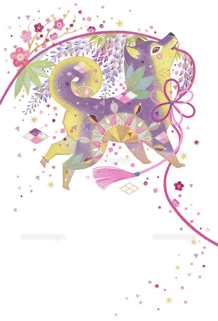 戌年縁起模様 花を咲かせる犬10418000060の写真素材イラスト素材
