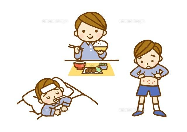 子供食事風景と発熱と発疹10420000024の写真素材イラスト素材