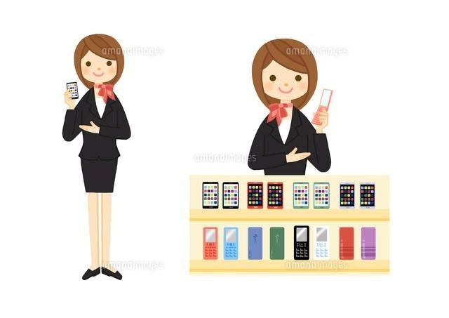 携帯電話ショップの販売員10420000083の写真素材イラスト素材