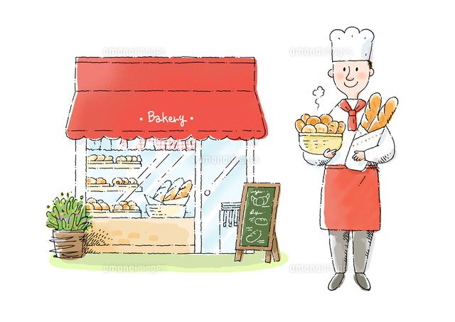 パン屋さんとパン職人10420000116の写真素材イラスト素材アマナ