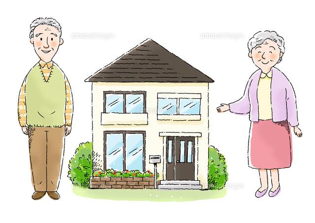 おじいさんとおばあさんと家 の写真素材 イラスト素材 アマナイメージズ
