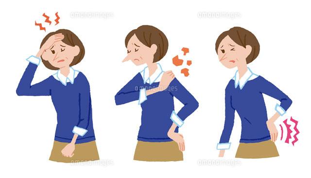 頭痛肩こり腰痛の女性10423000078の写真素材イラスト素材