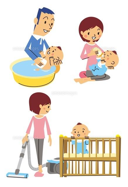 赤ちゃんの沐浴授乳部屋掃除10423000314の写真素材イラスト素材