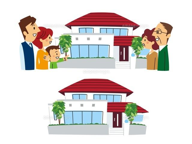 家と安心した二世帯家族二世帯住宅10423000425の写真素材イラスト