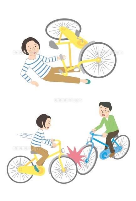 自転車事故転倒自転車同士10423000464の写真素材