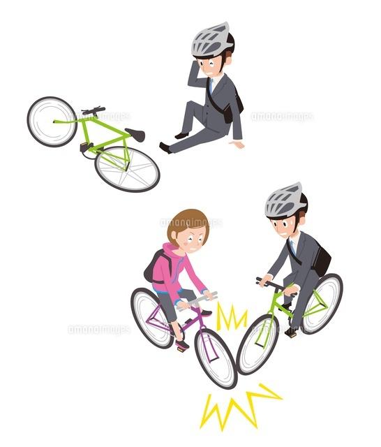 自転車事故転倒自転車同士10423000469の写真素材