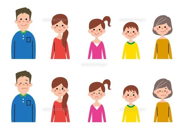 家族笑顔家族悲しい表情10423000481の写真素材イラスト素材