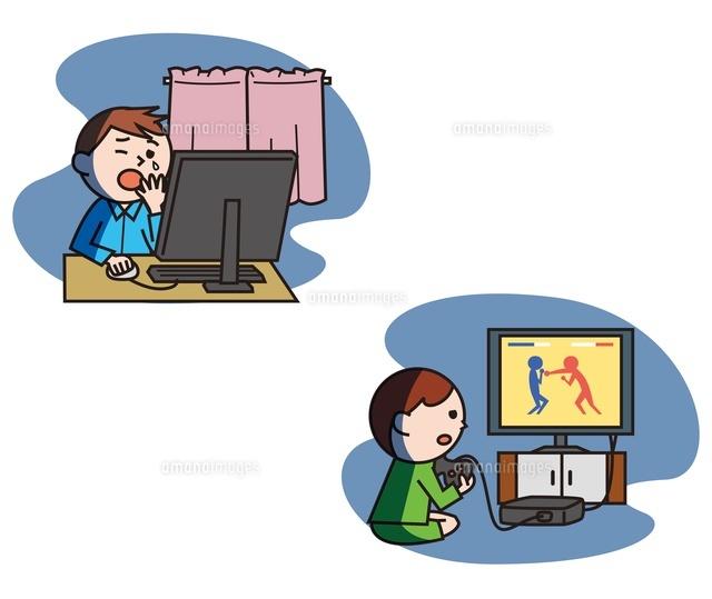 夜更かしをする子どもパソコンゲーム不眠10423000552の写真素材