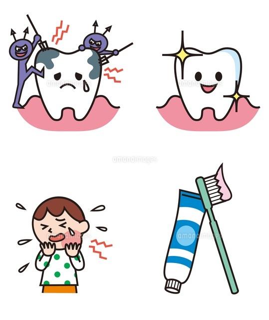 虫歯になる歯健康な歯子ども歯ブラシと歯磨き粉10423000562の