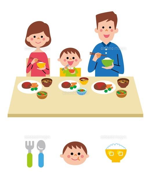 ご飯を食べる家族アイコン10423000687の写真素材イラスト素材