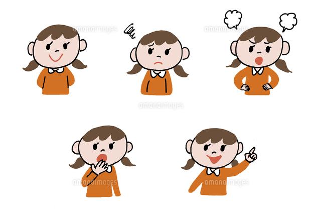 女の子表情5パターン10423000840の写真素材イラスト素材アマナ