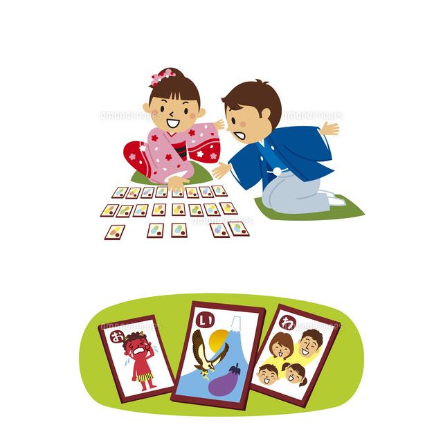 正月と子供かるた10423001051の写真素材イラスト素材アマナ