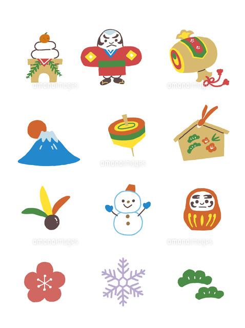 イラストアイコン お正月 の写真素材 イラスト素材 アマナイメージズ