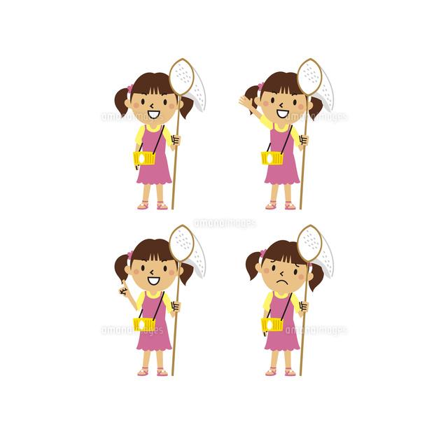 虫取り網を持つ女の子笑顔指差し困り顔10423001114の写真素材