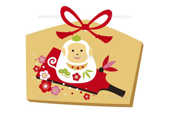 年賀状申年絵馬猿と梅と羽子板10423001336の写真素材