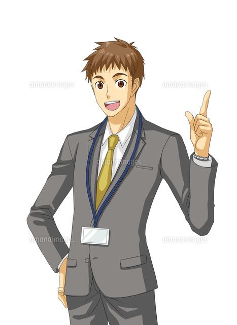腰に手を当て人差し指を立てるサラリーマン10425000053の写真素材