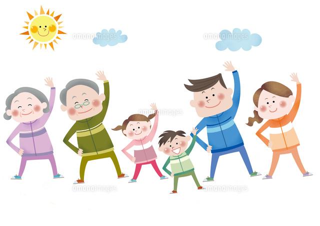 ラジオ体操をする笑顔の三世代家族10431000165の写真素材イラスト