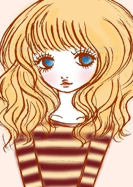 ボーダーシャツの女の子10436000023の写真素材イラスト素材アマナ
