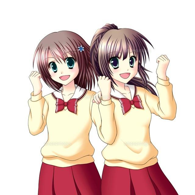 笑顔でガッツポーズをする2人の女子生徒中間服冬服10438000027の