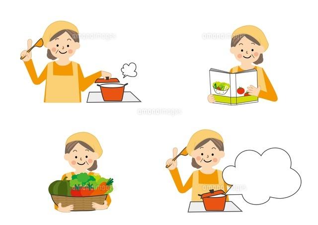 食事療法 料理する中年女性10447000018の写真素材イラスト素材