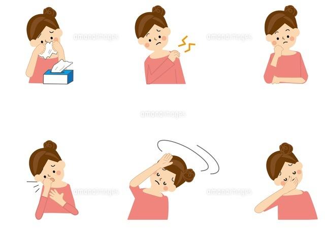 花粉症 めまい 咳 肩こり 吐き気 女性10447000065の写真素材イラスト