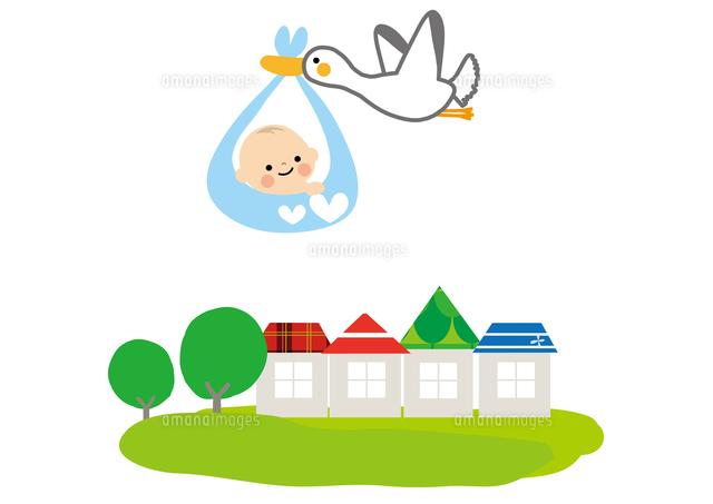 赤ちゃんとコウノトリ10447000497の写真素材イラスト素材アマナ